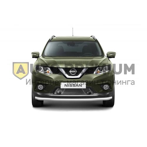 Накладка на решетку бампера (с парктроником) 10 мм (НПС) Nissan X-TRAIL с 2015